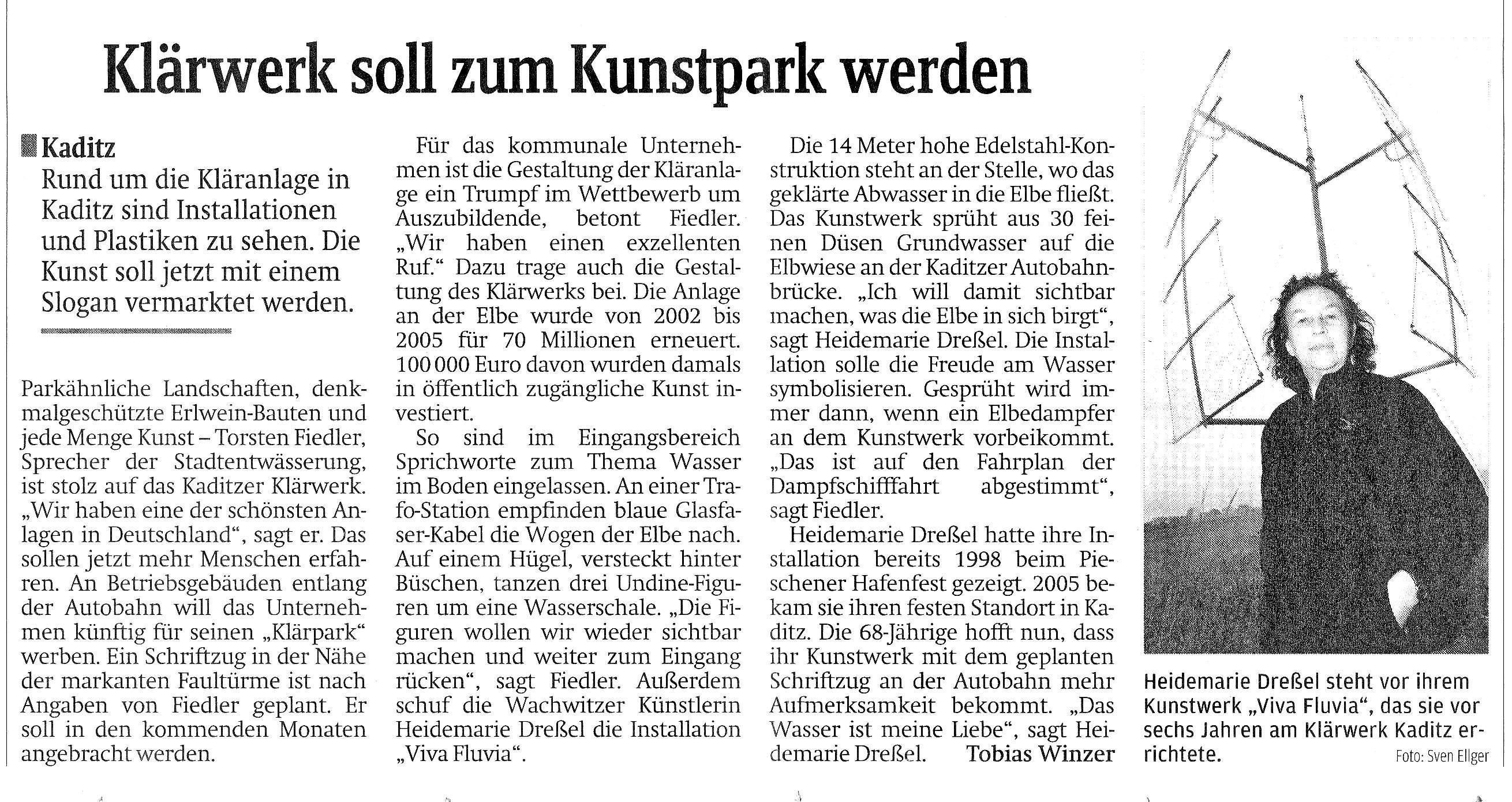 Klärwerk soll zum Kunstpark werden, Tobias Winzer, Säachsische Zeitung 27.07.2011