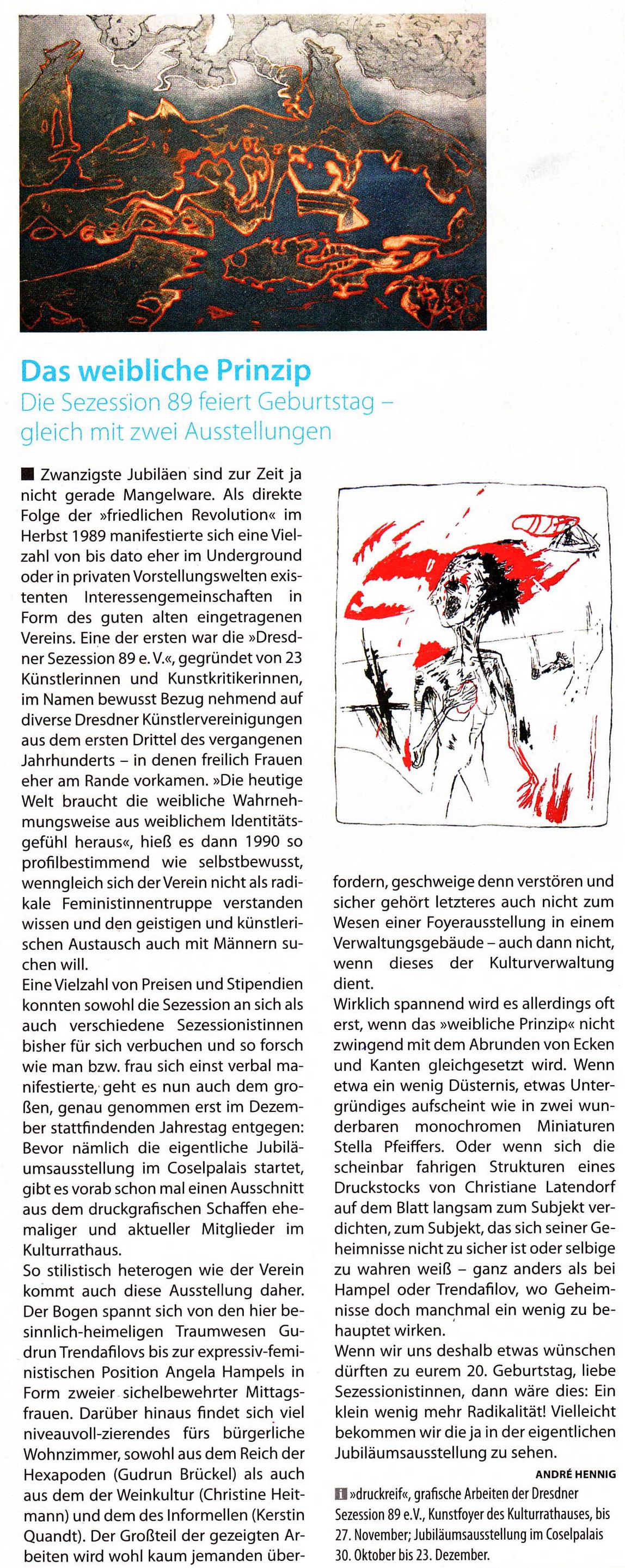 Das weibliche Prinzip, André Hennig, Dresdner 11/2009