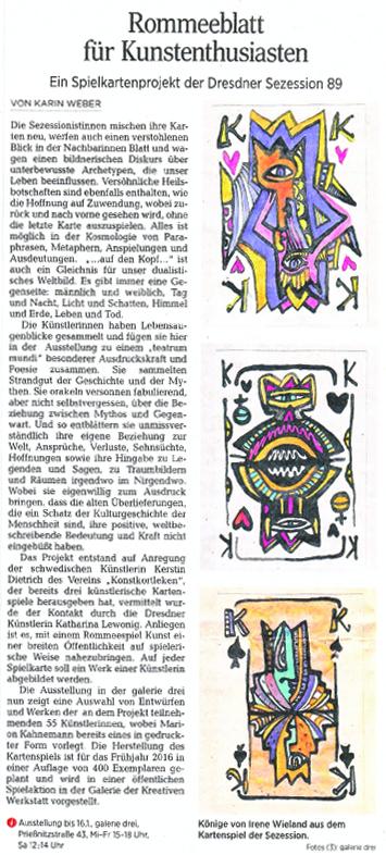 DNN 06.01.2016, Karin Weber, Spielkartenprojekt der Dresdner Sezession 89 e.V.