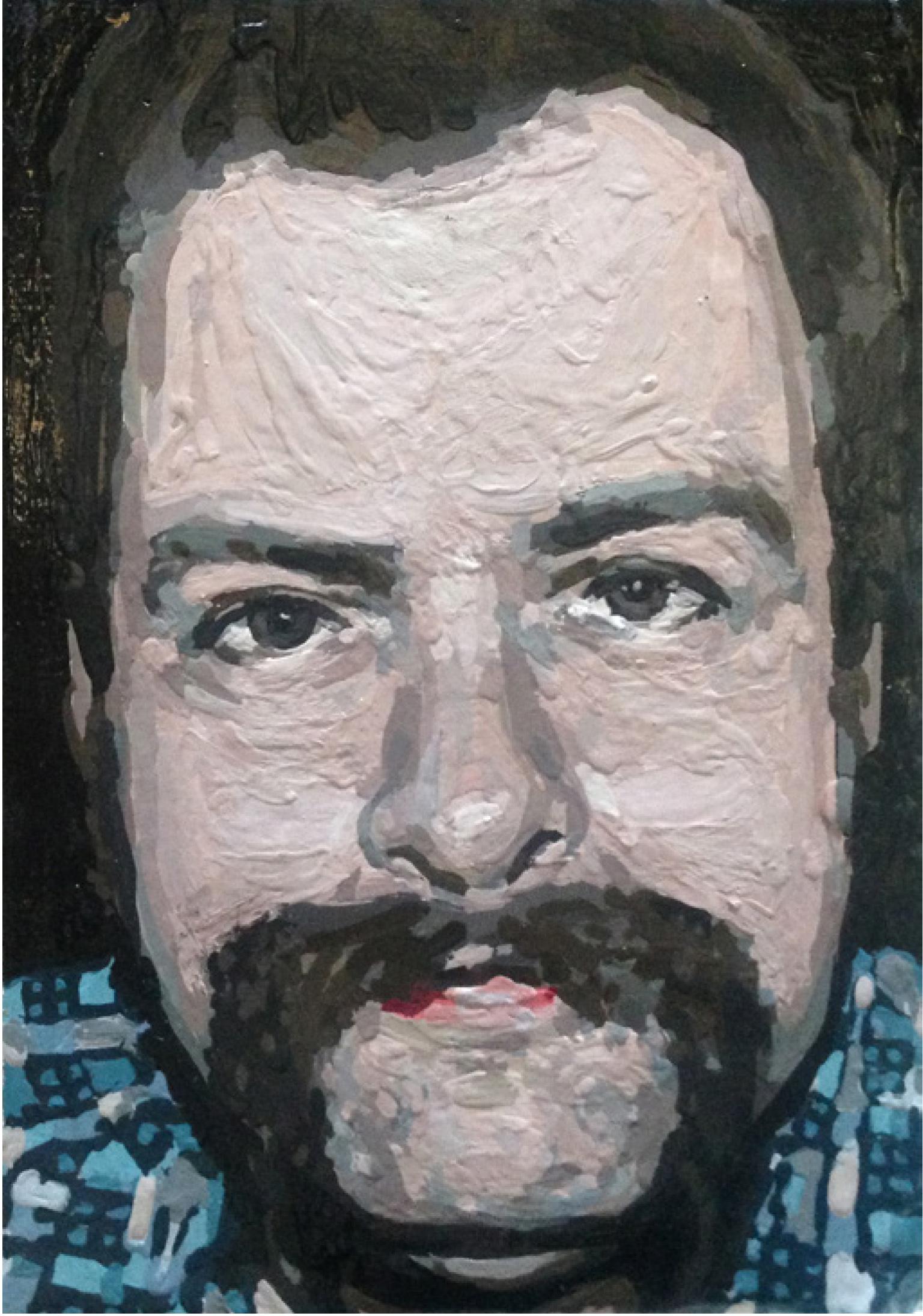 16 | Nadine Wölk | Mustache VI | 2012 | Acrcyl/Acryllack auf Leinwand | 18 x 12,5 cm | Kunstlotterie