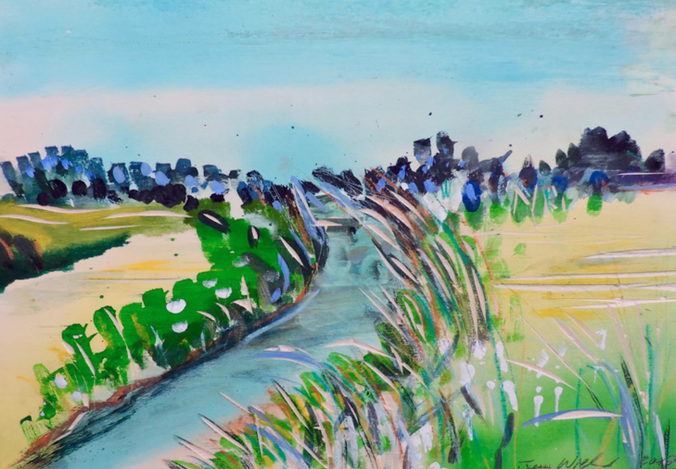 18 | Irene Wieland | Landschaft II | 2018 | Mischtechnik auf Pappe | 22 x 33 cm | Kunstlotterie