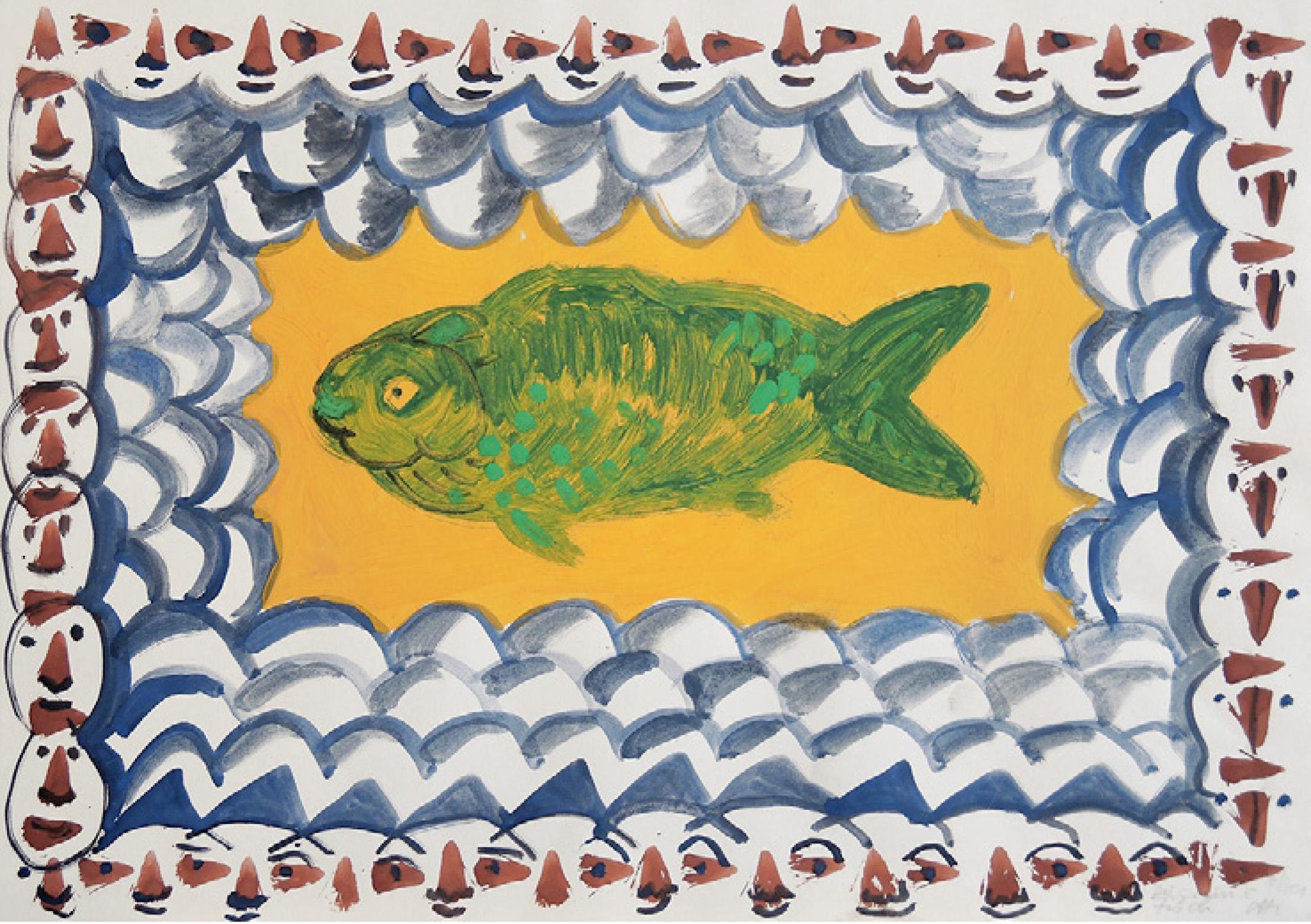 19 | Christiane Latendorf | Der Grüne Fisch | 2001 | Tempera | 30 x 40 cm | Kunstlotterie