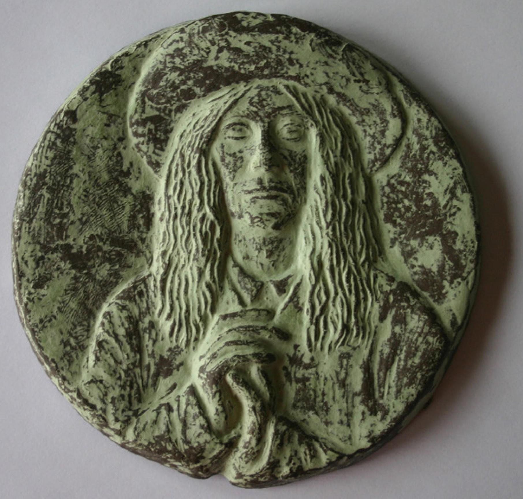 3 | Christa Donner | P.S. | Plakette | 2017 | Terracotta engobiert | Durchmesser 13 cm | Kunstlotterie