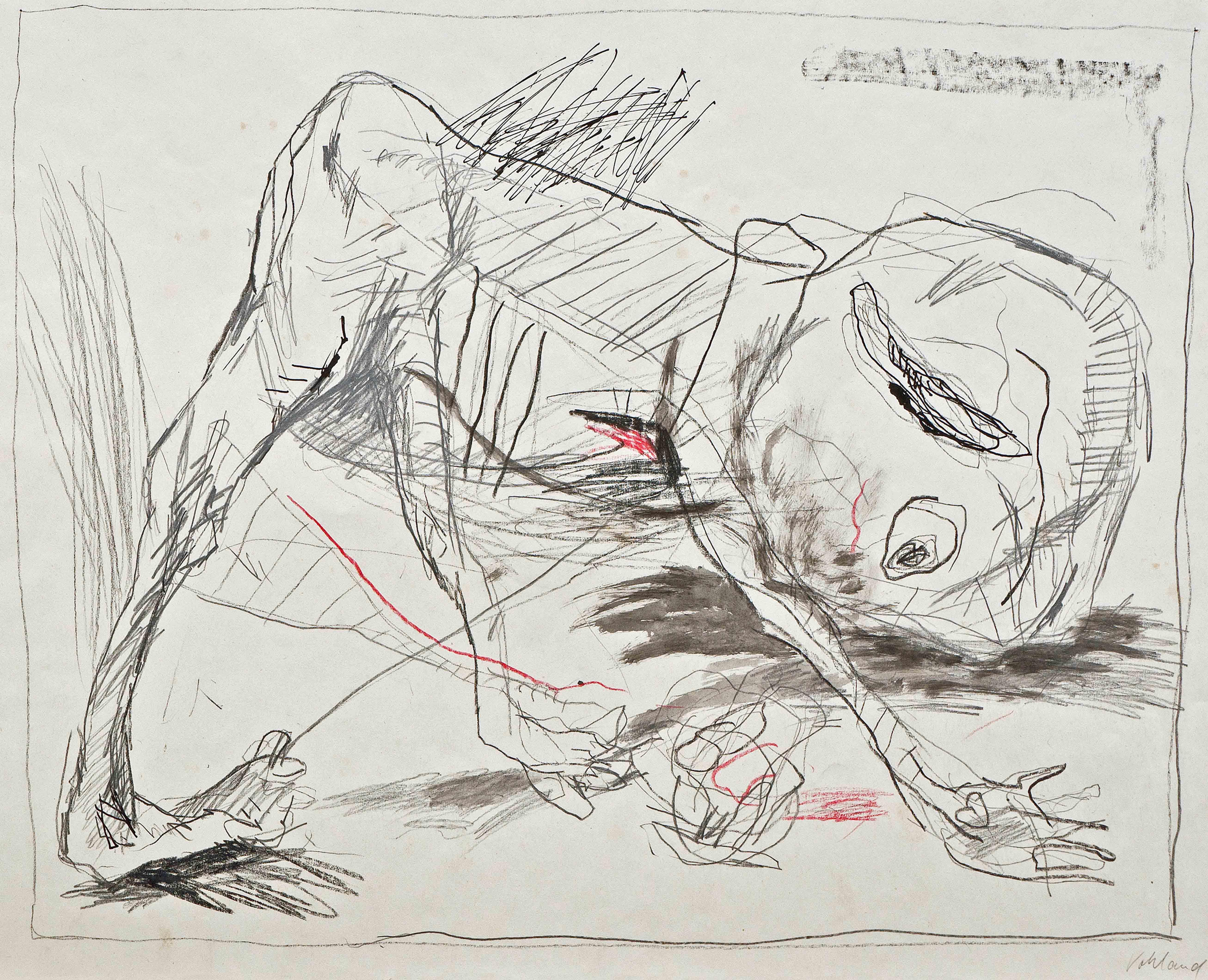 Petra Vohland, 0hne Titel, 1988, Graphit/Tusche/Gouache, 42 x 60 cm, Foto: Hans Strehlow