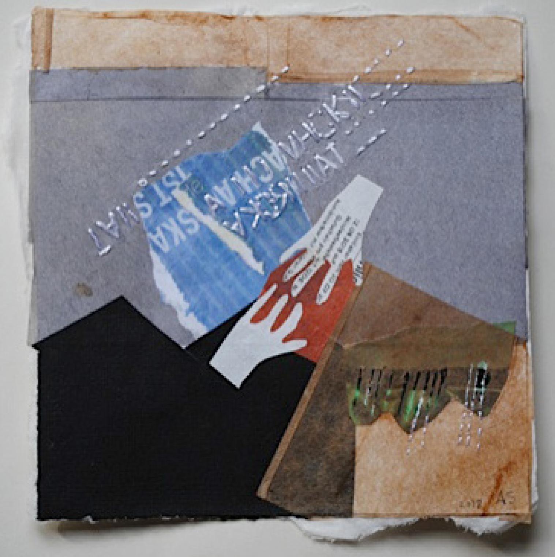 21 | Annerose Schulze | Bewahren | 2017 | Collage Japanpapier Seidenstick | 15 x 15 cm |Kunstlotterie