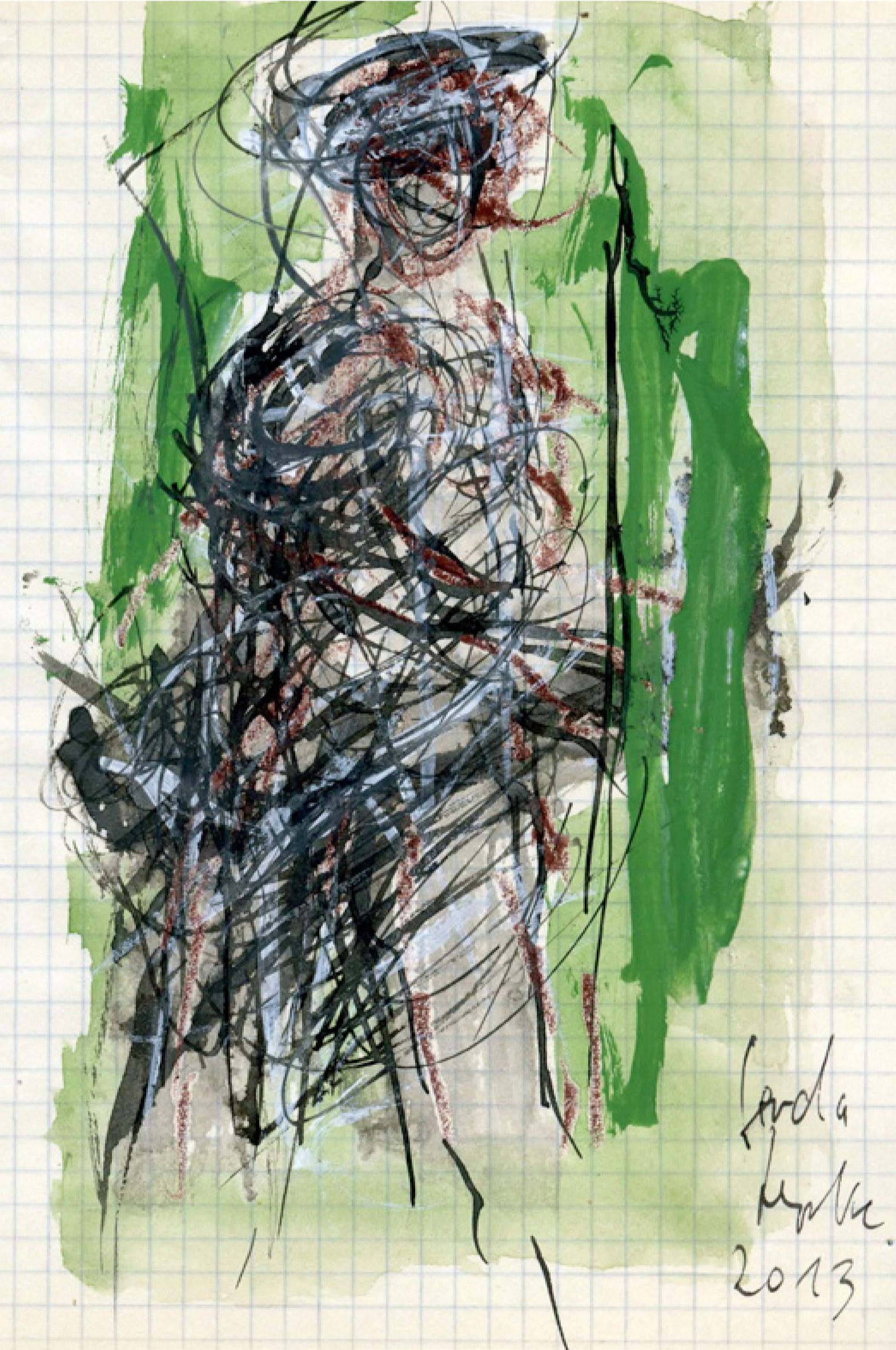 24 | Gerda Lepke | Skizzenblatt | 2013 | Aquarell/Tusche auf Rechenpapier | 20,3 x 14,5 cm | Kunstlotterie