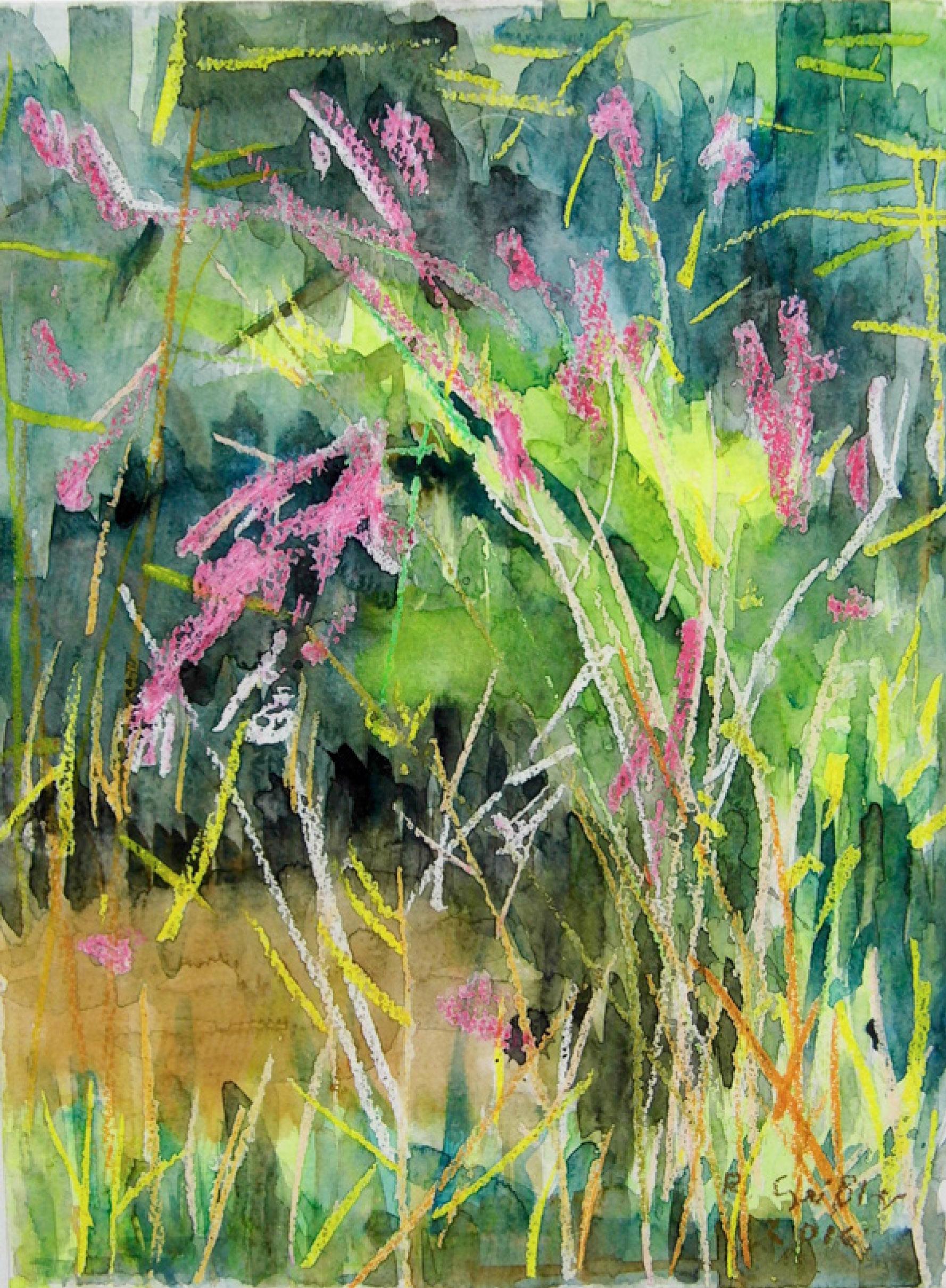 27 | Rita Geißler | In Franziskas Garten | 2016 | Aquarell/Ölpastell | 40 x 30 cm | Kunstlotterie