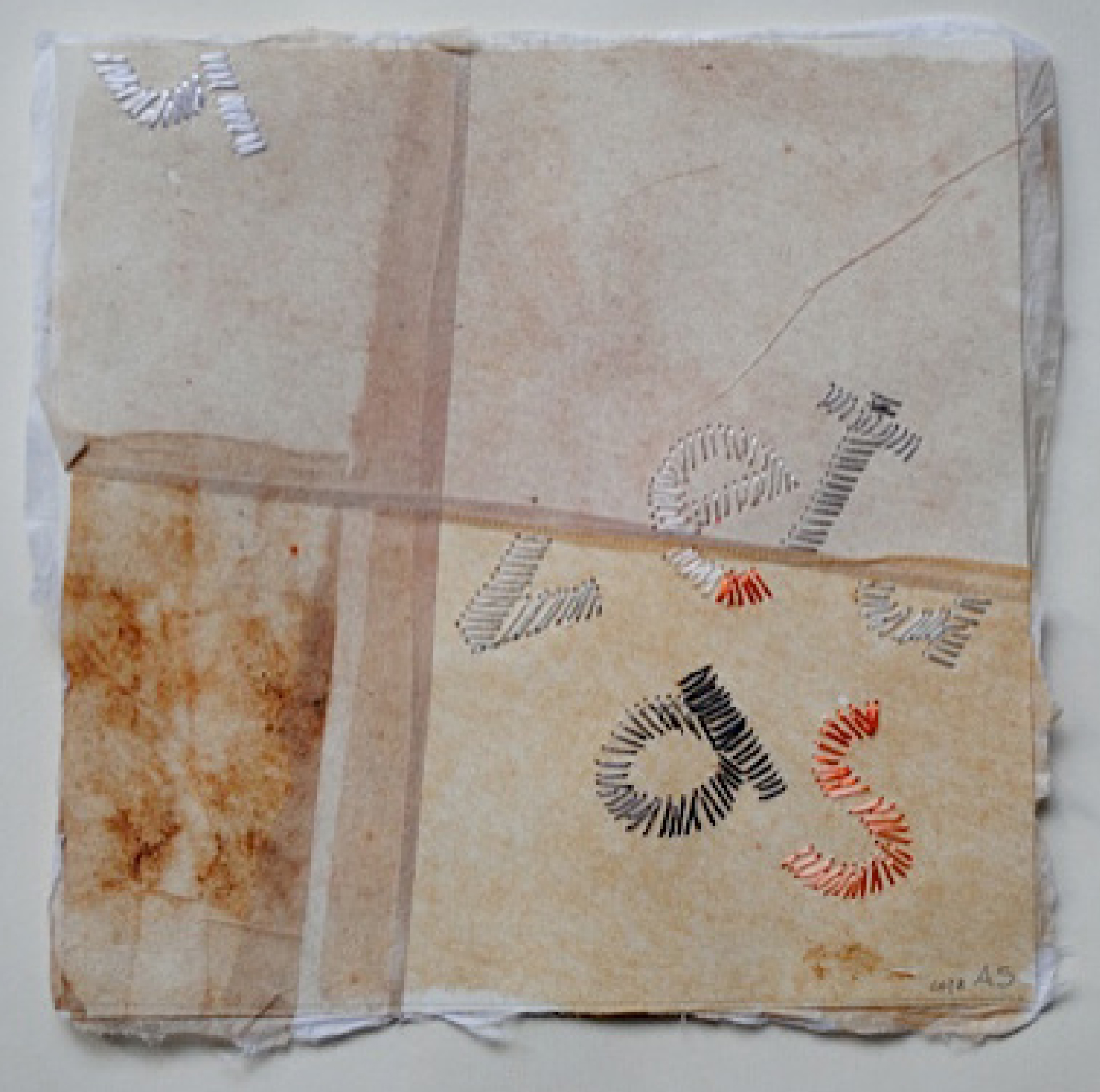 31 | Annerose Schulze | Flüsterblätter II Blatt 1 | Collage/Japanpiere/Seidenstick | 15 x 15 cm | Kunstlotterie