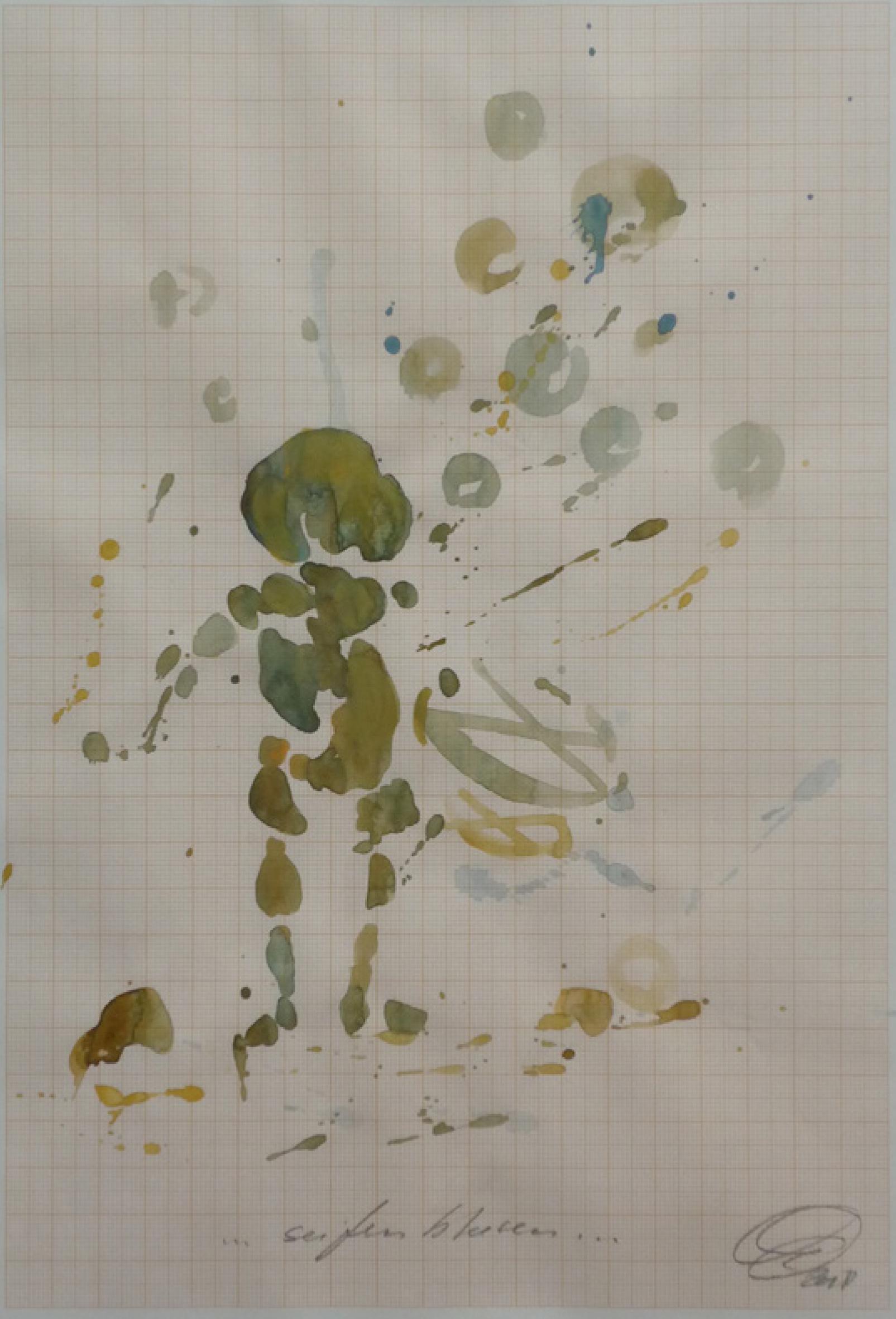 32 | Kerstin Quandt | simple storys Nr. 11 ..bubbles.. | farbige Tuschen/Aquarell auf Millimeterpapier | 30 x 21 cm | Kunstlotterie
