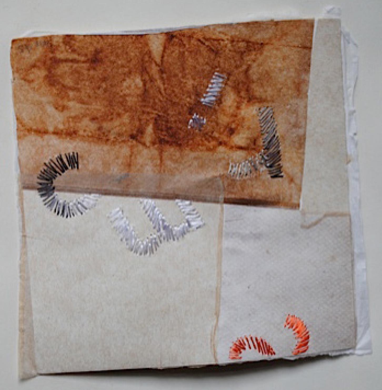 34 | Annerose Schulze | Flüsterblätter II /Blatt 2 | 2018 | Collage/Japanpapiere/Seidenstick | 15 x 15 cm | Kunstlotterie