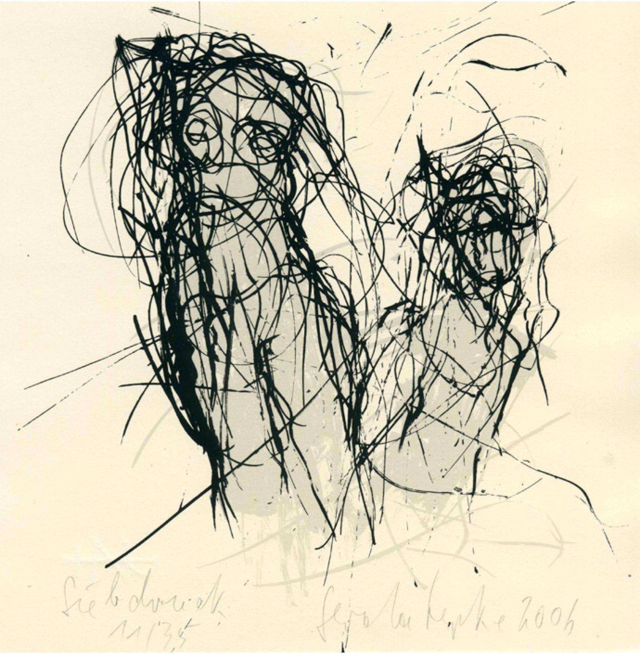 6 | Gerda Lepke | Aphrodite und Triton | Siebdruck | 20,5 x 20,5 cm | Kunstlotterie