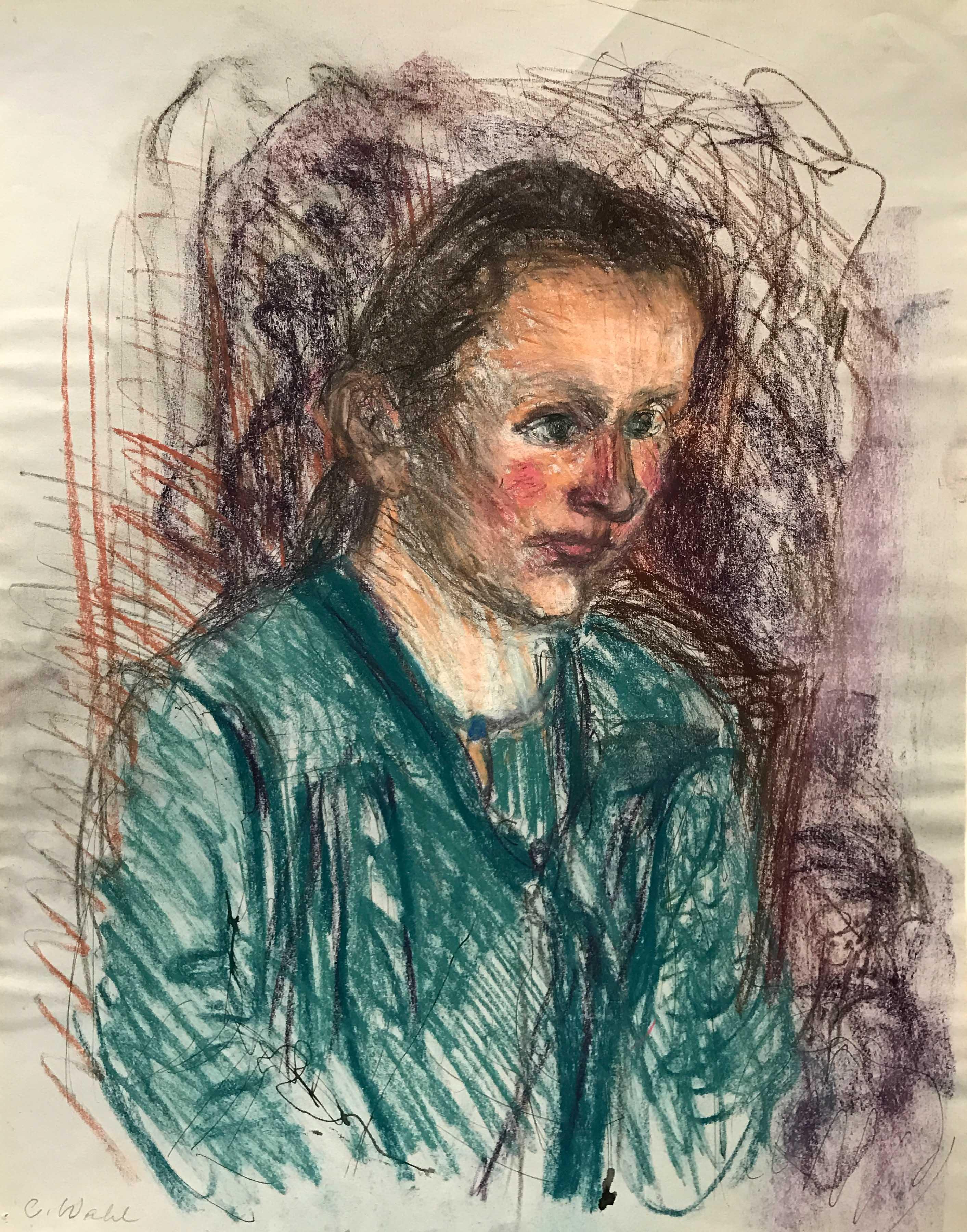 Christine Wahl, Porträt Ulrike, um 1985, Pastell, 49 x 39,5 cm